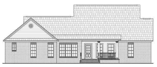 Country, Farmhouse, Southern, Traditional House Plan 59191 with 3 Beds, 2 Baths, 2 Car Garage Rear Elevation