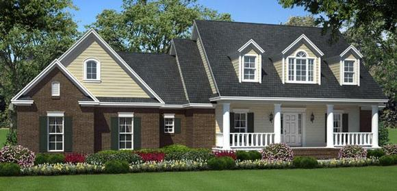 Country, Southern, Traditional House Plan 59200 with 3 Beds, 3 Baths, 2 Car Garage Elevation