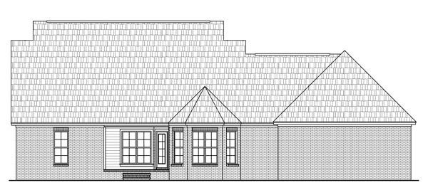 Country, Southern, Traditional House Plan 59200 with 3 Beds, 3 Baths, 2 Car Garage Rear Elevation