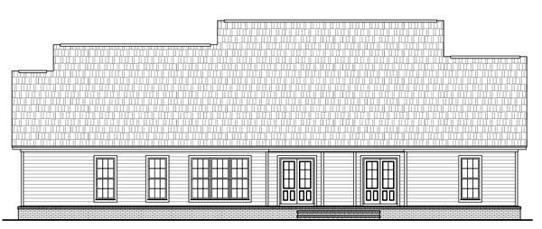 Country, Farmhouse, Traditional House Plan 59202 with 4 Beds, 3 Baths, 2 Car Garage Rear Elevation