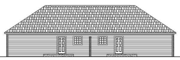 Country, Ranch, Southern Multi-Family Plan 59208 with 4 Beds, 4 Baths Rear Elevation