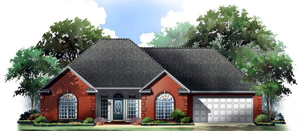 Country, European, Traditional House Plan 59209 with 3 Beds, 2 Baths, 2 Car Garage Elevation