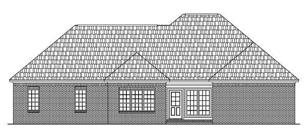 Country, European, Traditional House Plan 59209 with 3 Beds, 2 Baths, 2 Car Garage Rear Elevation