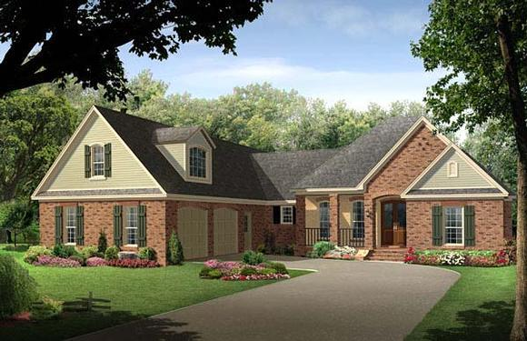 Country, European, Traditional House Plan 59215 with 4 Beds, 3 Baths, 2 Car Garage Elevation