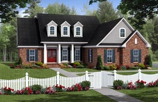 Country, Farmhouse, Southern, Traditional House Plan 59217 with 3 Beds, 2 Baths, 2 Car Garage Elevation