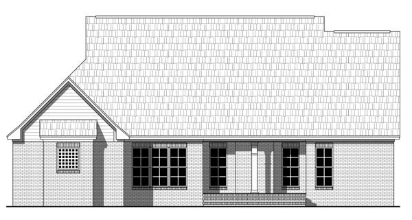 Country, Farmhouse, Southern, Traditional House Plan 59217 with 3 Beds, 2 Baths, 2 Car Garage Rear Elevation