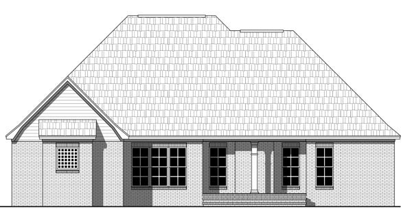 European, Traditional House Plan 59218 with 3 Beds, 2 Baths, 2 Car Garage Rear Elevation