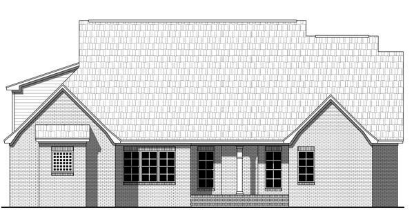 Country, Farmhouse, Southern, Traditional House Plan 59219 with 4 Beds, 2 Baths, 2 Car Garage Rear Elevation