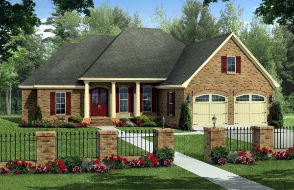 Country, European, Traditional House Plan 59220 with 4 Beds, 2 Baths, 2 Car Garage Elevation