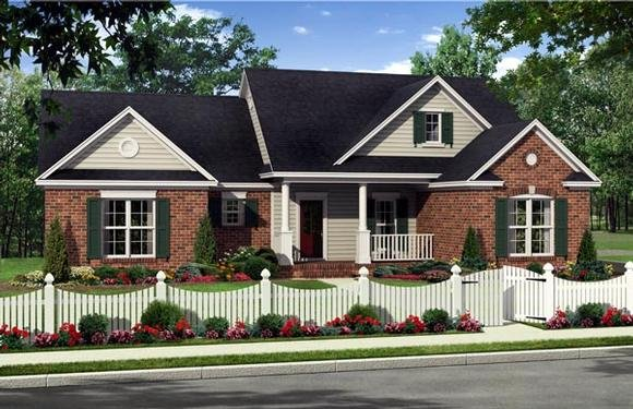 Country, Farmhouse, Traditional House Plan 59225 with 3 Beds, 2 Baths, 2 Car Garage Elevation