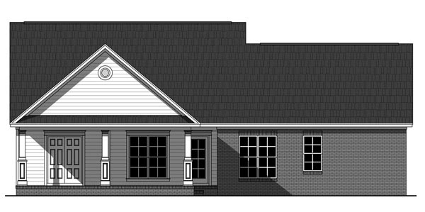 Country, Farmhouse, Traditional House Plan 59225 with 3 Beds, 2 Baths, 2 Car Garage Rear Elevation