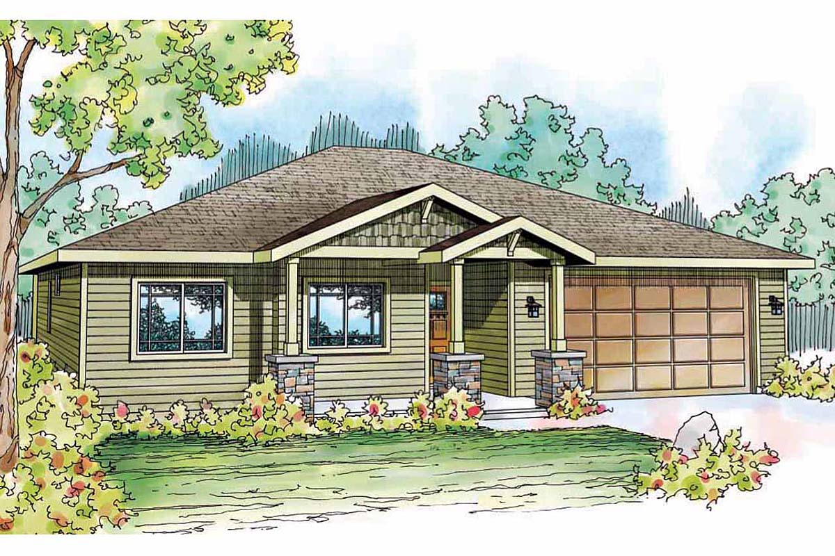 Contemporary, Cottage, Country, Craftsman, Ranch House Plan 59411 with 3 Beds, 2 Baths, 2 Car Garage Elevation