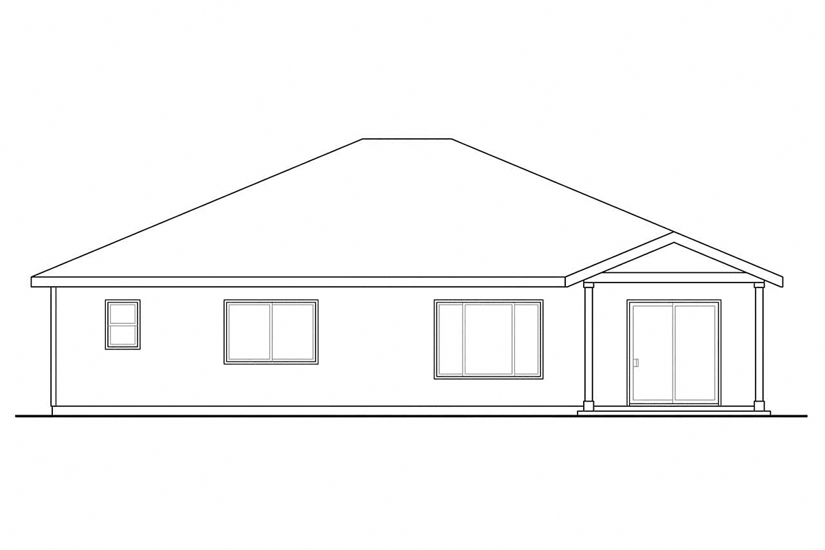 Contemporary, Cottage, Country, Craftsman, Ranch House Plan 59411 with 3 Beds, 2 Baths, 2 Car Garage Rear Elevation