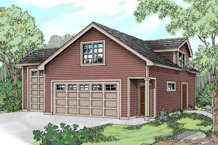 Country, Craftsman, Traditional 3 Car Garage Apartment Plan 59452, RV Storage Elevation