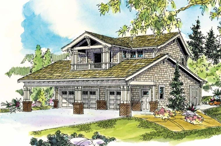 Bungalow, Craftsman 5 Car Garage Apartment Plan 59472 with 1 Beds, 2 Baths Elevation