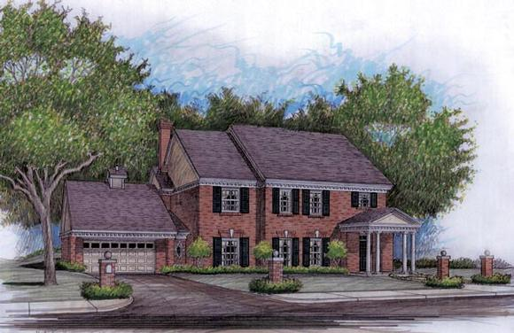 Colonial, Traditional House Plan 59503 with 4 Beds, 4 Baths, 2 Car Garage Elevation