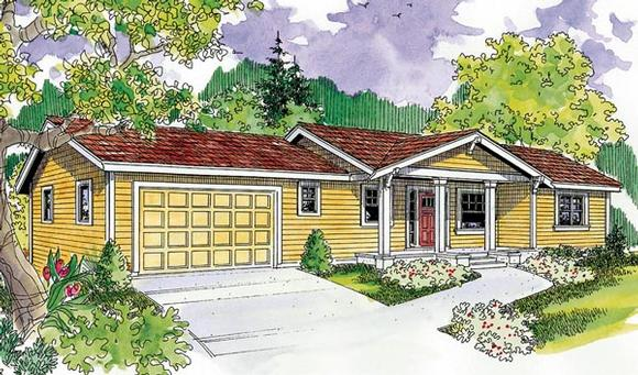 Bungalow, Cottage, Country, Craftsman, Ranch House Plan 59706 with 3 Beds, 3 Baths, 2 Car Garage Elevation