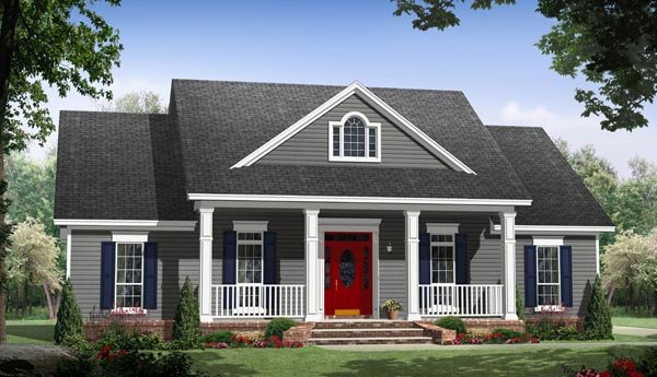 Country, Traditional House Plan 59936 with 3 Beds, 2 Baths, 2 Car Garage Elevation