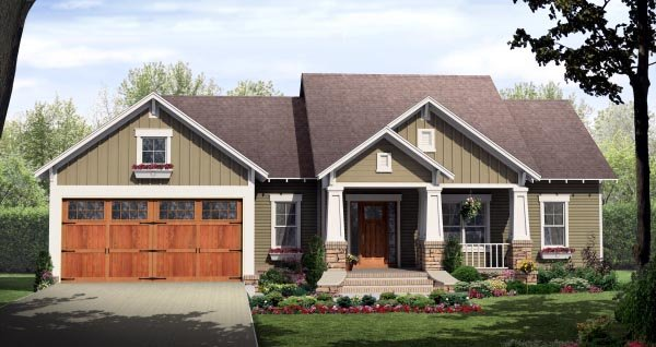 Bungalow, Craftsman House Plan 59942 with 3 Beds, 2 Baths, 2 Car Garage Elevation
