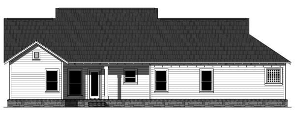 Bungalow, Craftsman House Plan 59942 with 3 Beds, 2 Baths, 2 Car Garage Rear Elevation