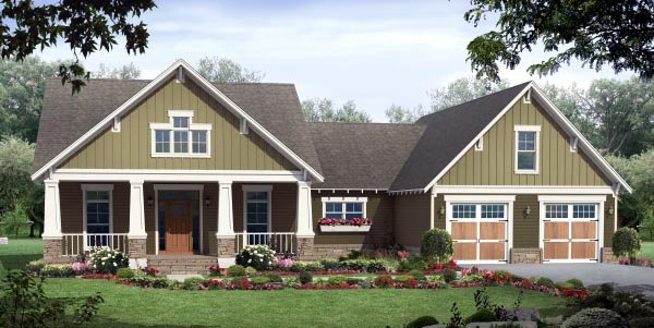 Country, Craftsman, Ranch House Plan 59943 with 3 Beds, 2 Baths, 2 Car Garage Elevation