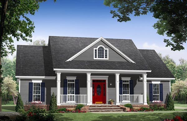 Cottage, Country, Traditional House Plan 59969 with 3 Beds, 2 Baths, 2 Car Garage Elevation