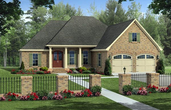 Colonial, European, Traditional House Plan 59971 with 3 Beds, 2 Baths, 2 Car Garage Elevation