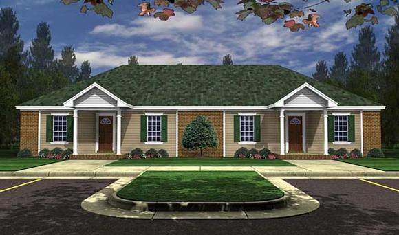 Country, Ranch, Southern Multi-Family Plan 59975 with 4 Beds, 4 Baths Elevation