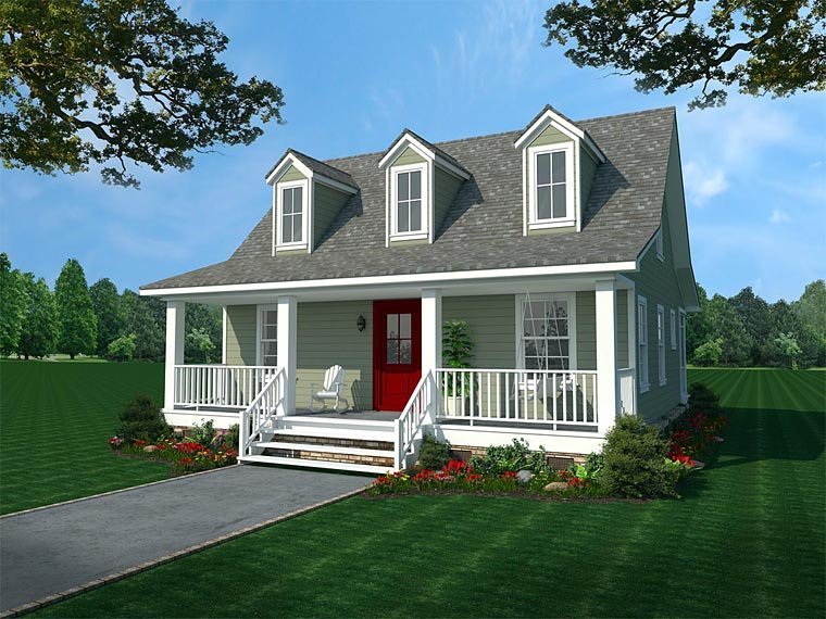 Cabin, Country, Ranch House Plan 59993 with 2 Beds, 1 Baths Elevation