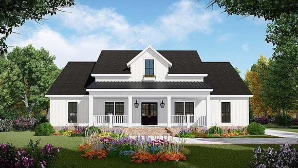Country, Farmhouse, Ranch, Southern House Plan 59998 with 3 Beds, 3 Baths, 2 Car Garage Elevation