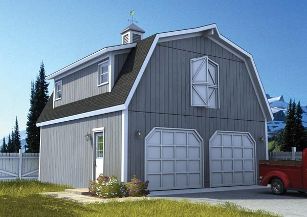 Country, Farmhouse 2 Car Garage Plan 6007 Elevation