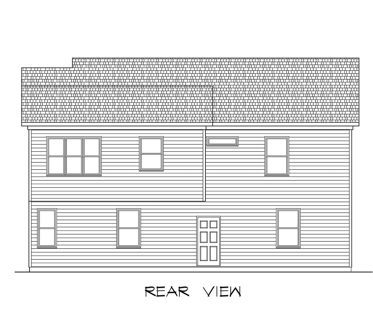 Country, Craftsman, Traditional Garage-Living Plan 60079 with 2 Beds, 3 Baths, 3 Car Garage Rear Elevation