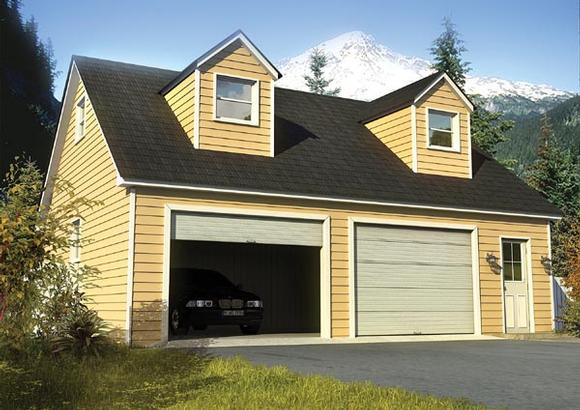 Cape Cod, Country, Traditional 2 Car Garage Plan 6010 Elevation