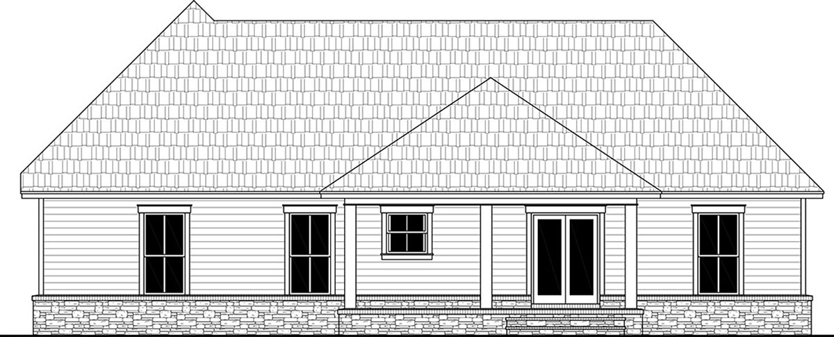 Country, Farmhouse, Ranch, Traditional House Plan 60110 with 4 Beds, 3 Baths, 2 Car Garage Rear Elevation