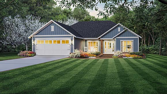 Country, Farmhouse, Ranch, Traditional House Plan 60111 with 3 Beds, 2 Baths, 2 Car Garage Elevation