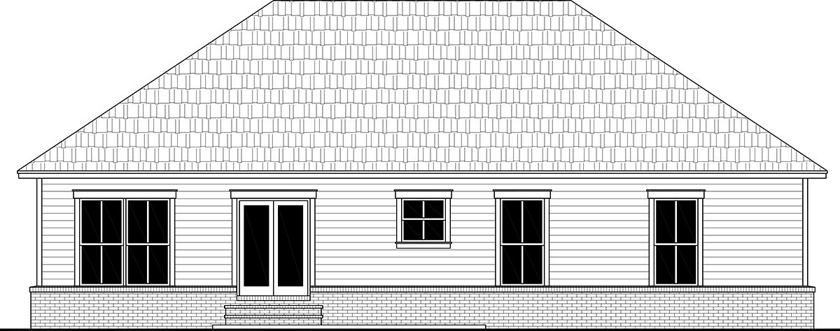 Country, Farmhouse, Ranch, Traditional House Plan 60111 with 3 Beds, 2 Baths, 2 Car Garage Rear Elevation