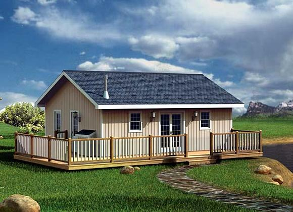 Cabin, Traditional House Plan 6020 with 2 Beds, 1 Baths Elevation