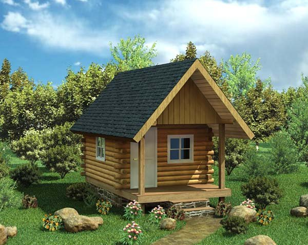 Cabin, Log House Plan 6024 with 1 Beds Elevation