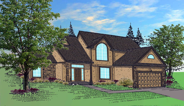 House Plan 60637 with 4 Beds, 2 Baths, 3 Car Garage Elevation