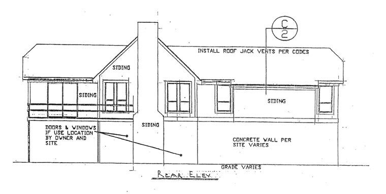 House Plan 60639 with 4 Beds, 2 Baths Rear Elevation