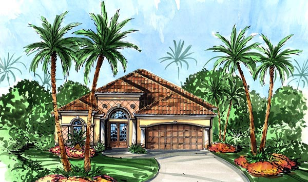 Mediterranean House Plan 60762 with 3 Beds, 4 Baths, 2 Car Garage Elevation