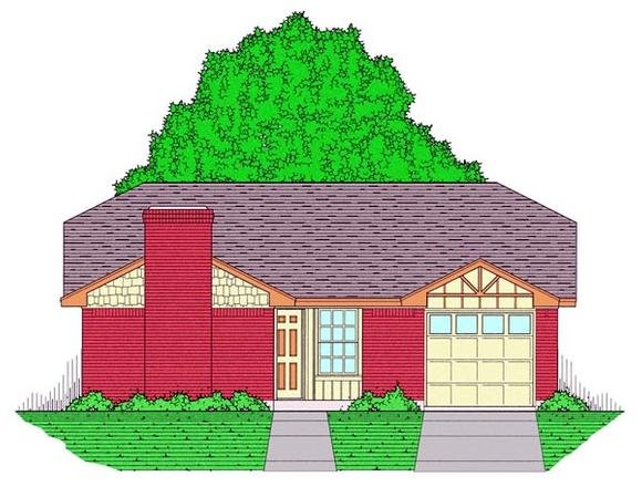 Country, Ranch, Traditional House Plan 60801 with 3 Beds, 2 Baths, 1 Car Garage Elevation