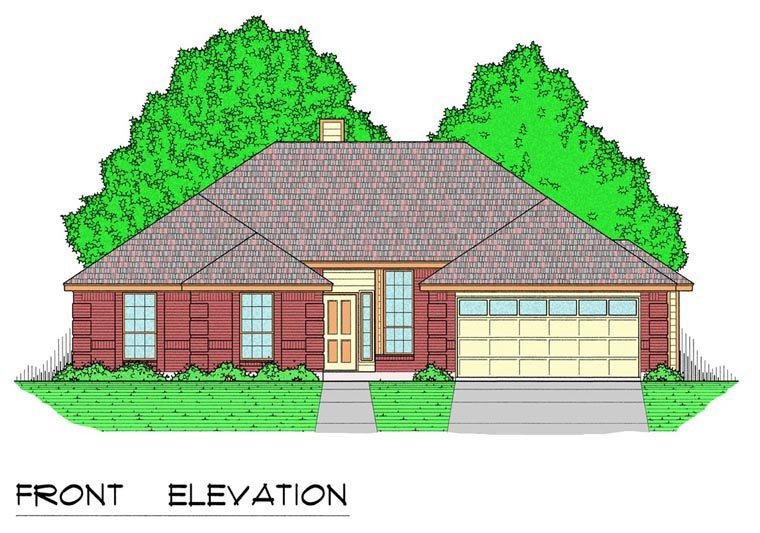 Traditional House Plan 60826 with 4 Beds, 2 Baths, 2 Car Garage Elevation
