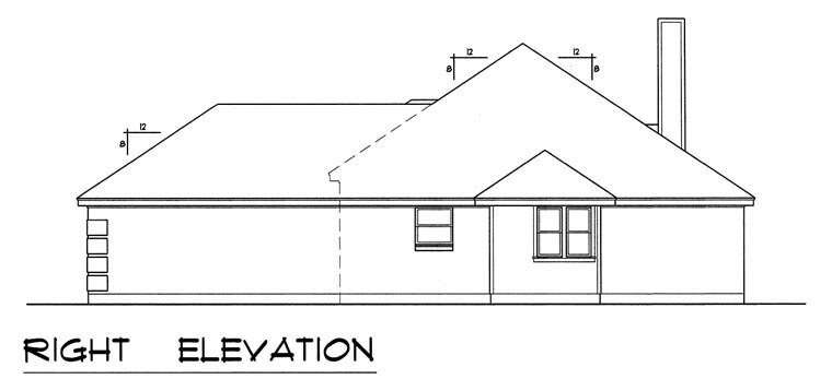 Traditional House Plan 60826 with 4 Beds, 2 Baths, 2 Car Garage Picture 3