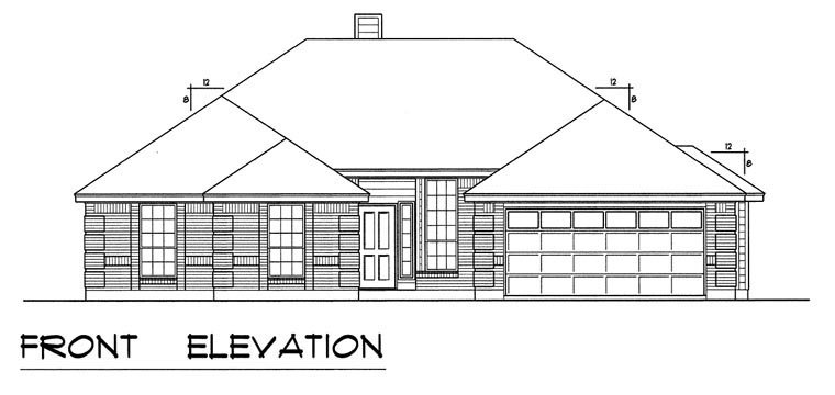 Traditional House Plan 60826 with 4 Beds, 2 Baths, 2 Car Garage Picture 4