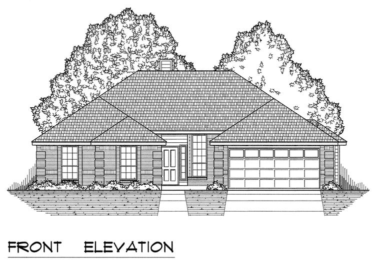 Traditional House Plan 60826 with 4 Beds, 2 Baths, 2 Car Garage Picture 1