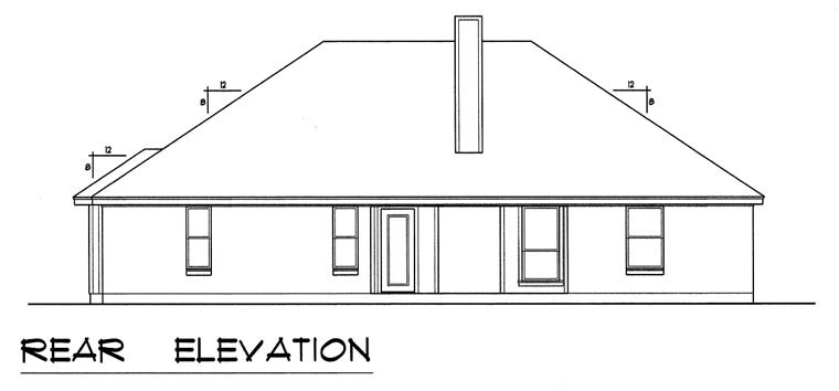 Traditional House Plan 60826 with 4 Beds, 2 Baths, 2 Car Garage Rear Elevation