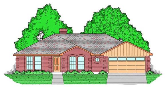 European, Traditional House Plan 60827 with 3 Beds, 2 Baths, 2 Car Garage Elevation