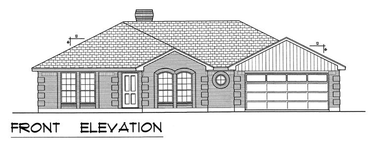 European, Traditional House Plan 60827 with 3 Beds, 2 Baths, 2 Car Garage Picture 3
