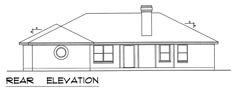 European, Traditional House Plan 60827 with 3 Beds, 2 Baths, 2 Car Garage Rear Elevation